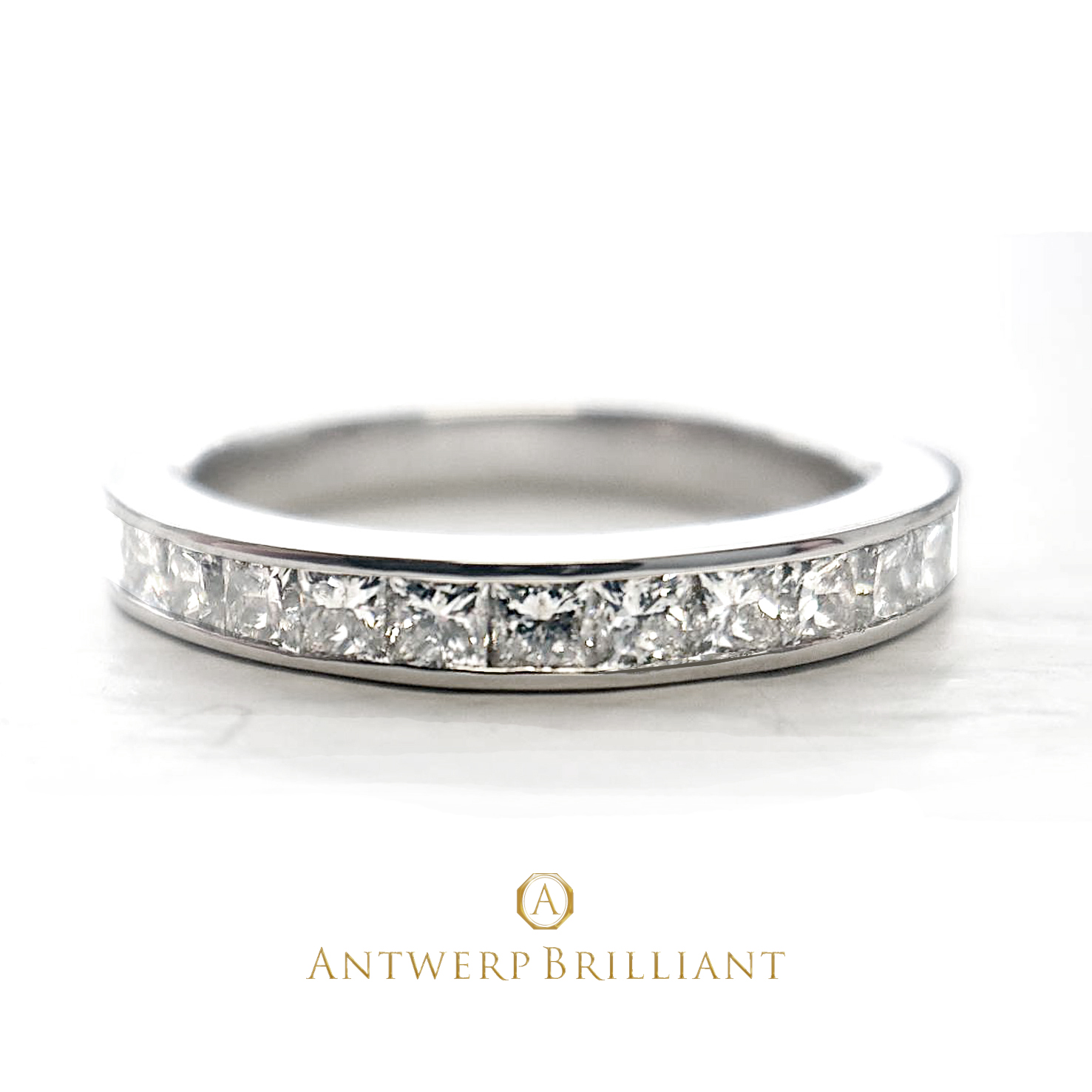"""Star Ray"" Channel Setting PRINCESS Cut Diamond Harf Eternity Ring"