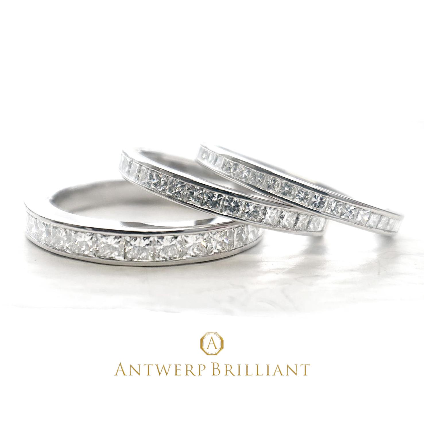 BRIDGE銀座がおすすめするダイヤモンドが美しい華やかなハーフエタニティーの婚約指輪と結婚指輪