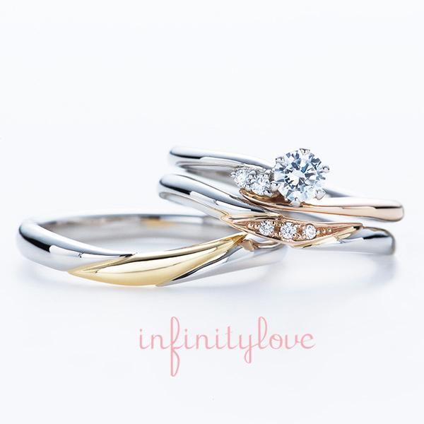 ピンクゴールドとプラチナのコンビがかわいい婚約指輪と結婚指輪のセットリング