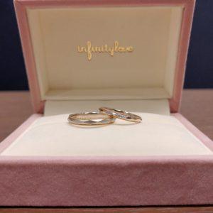 ミルグレインが可愛い金とプラチナを使った結婚指輪です