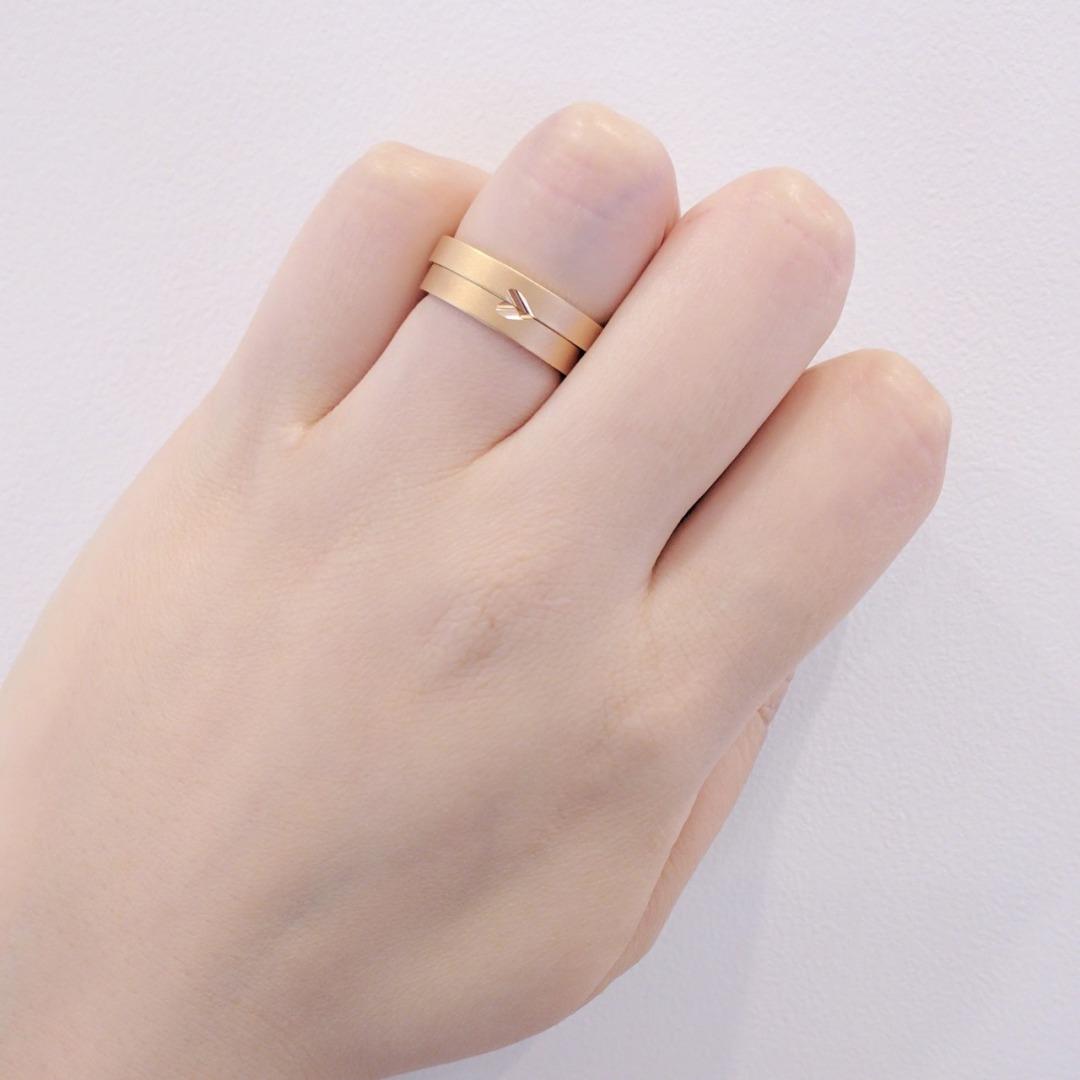 ピンクゴールド 結婚指輪 マリッジリング ニコイチデザイン