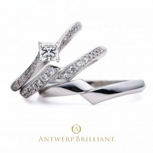 """Lightning"" Side wave line Diamond Ring (set)"