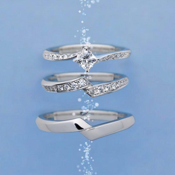 ダイヤモンドラインが華やかな存在感あふれる結婚指輪