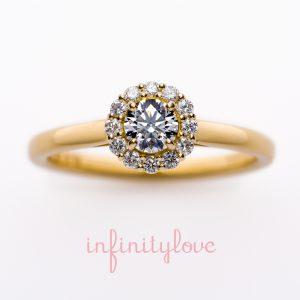 ひまわり(向日葵)がモチーフの婚約指輪エンゲージリングです。