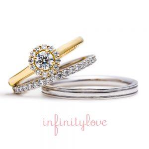 ひまわり(向日葵)がモチーフの婚約指輪と結婚指輪のセットリングです。
