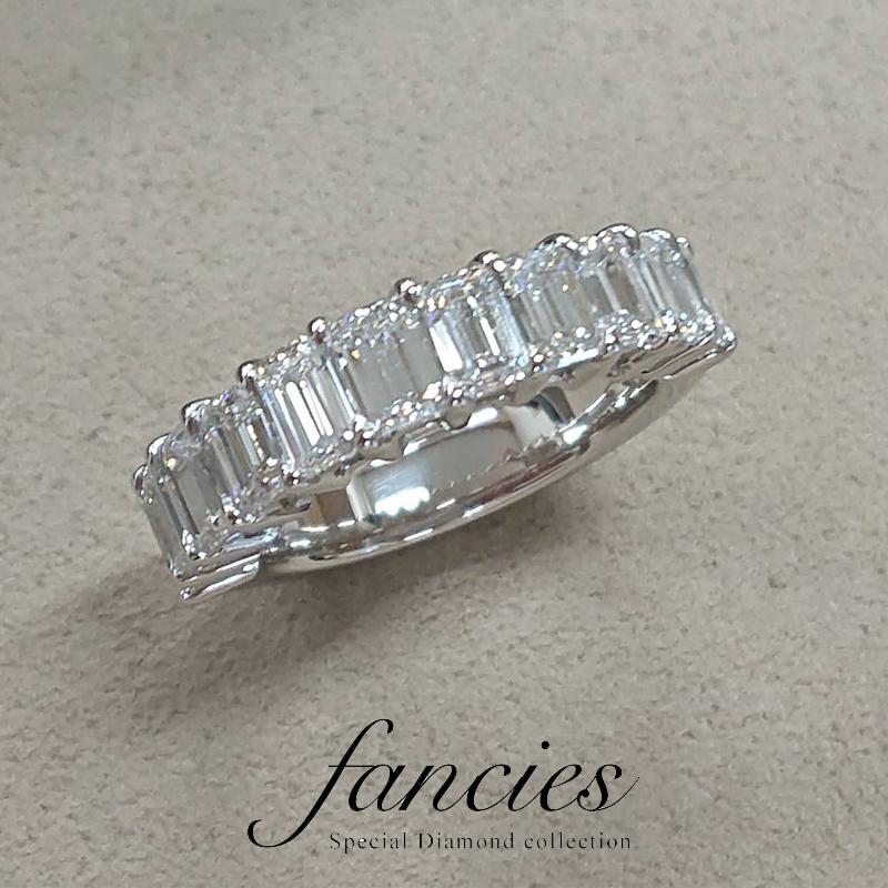 エメラルドカットダイヤモンドのエタニティーリングをフルオーダー