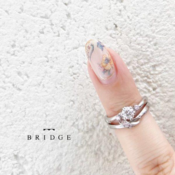 """ピンクダイヤモンドが可愛い春の福寿草""""雪割草""""の花がモチーフのエンゲージリング"""