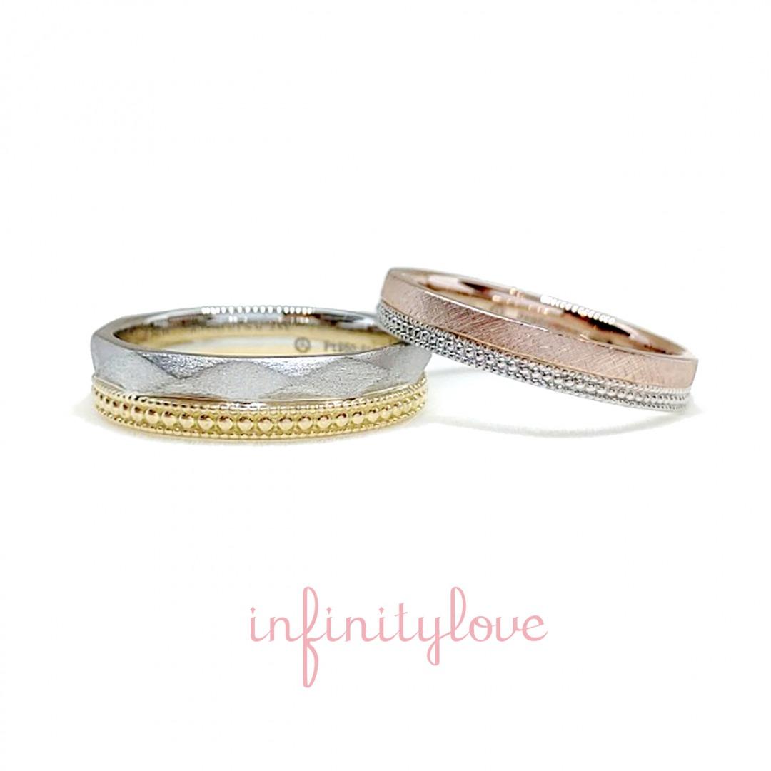 人とは違う特注オーダーで作る結婚指輪 アンティークテイストが可愛いinfinityloveのFlagとdropのアレンジです。