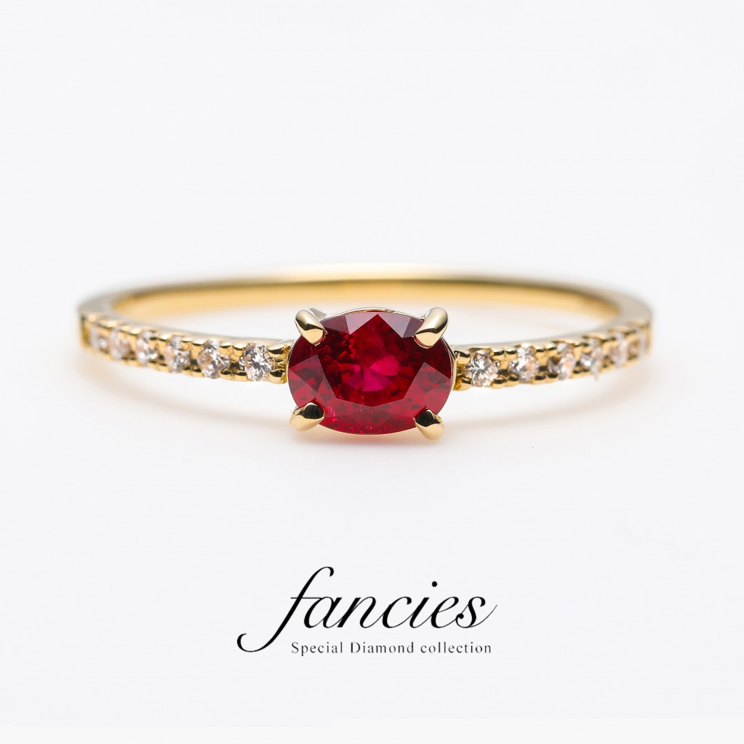 """Pigeon Blood"" Ruby Diamond Line Ring"