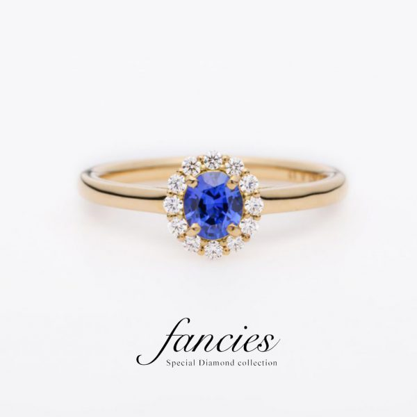 Loyal Blue Sapphire Diamond Halo Ring