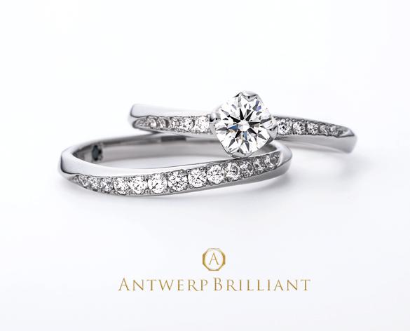 ダイヤモンドラインの美しい婚約指輪と結婚指輪の重ね付け