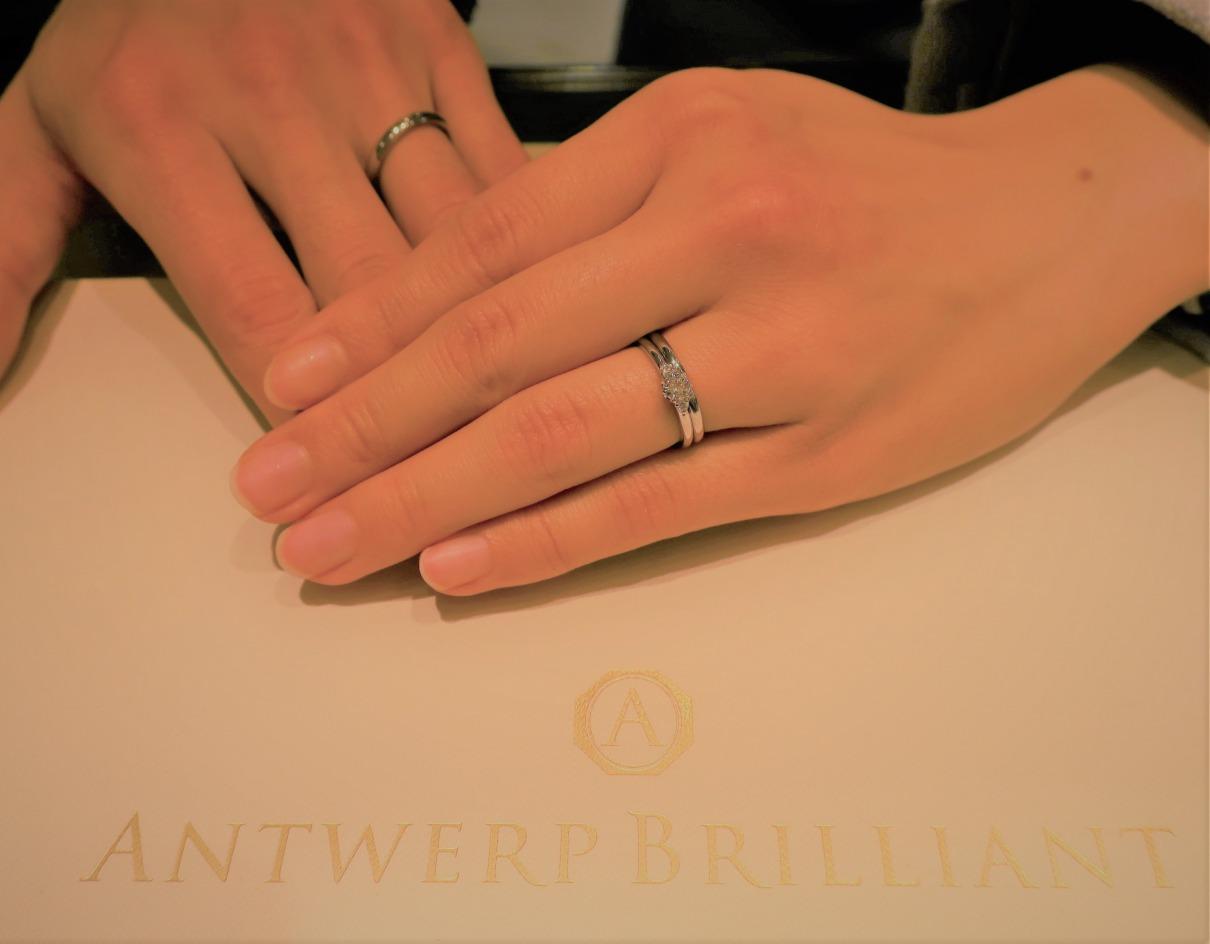 Asterismの結婚指輪&婚約指輪 着けた時のキラメキと着け心地がしっくりきました!