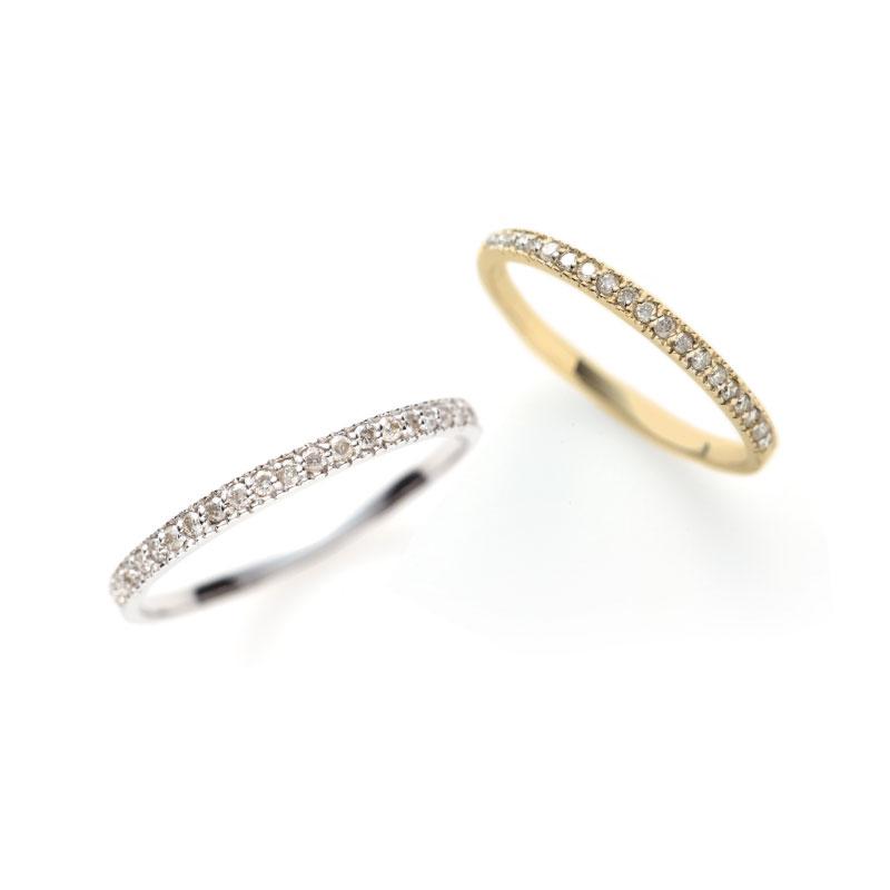 銀座で人気の華奢で着けやすいダイヤモンドハーフエタニティリング