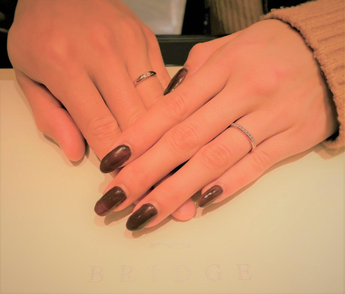 全石ハート&キューピットのダイヤモンドを使用した結婚指輪です♪