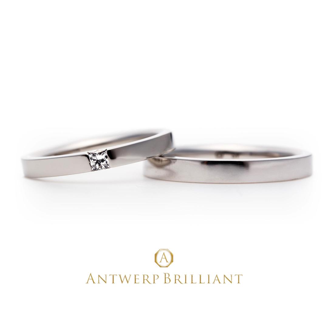 最高グレードの四角いプリンセスダイヤモンドのマリッジリング結婚指輪