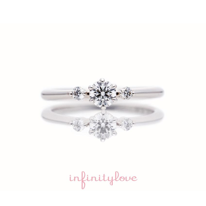 ジャスミンの花言葉が持つ「優美」をイメージしてシンプルなストレートサイドメレのプラチナ婚約指輪をデザインしました。