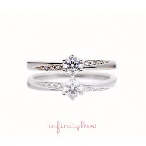 ダイヤモンドラインが美しいプラチナのシンプルな婚約指輪です。
