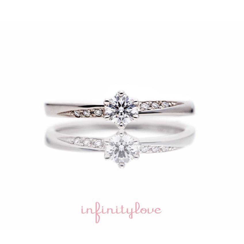 ダイヤモンドラインが美しいプラチナのシンプルな婚約指輪ナチュラル