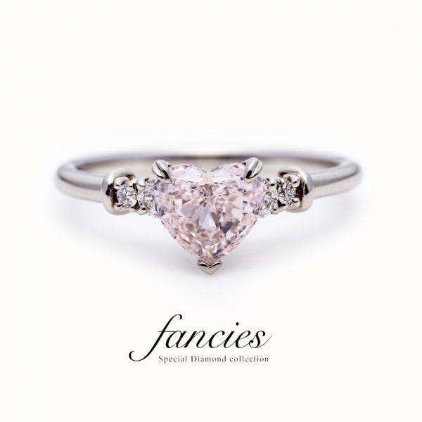 "Pink Diamond Heart Shape Ring ""Real love"""