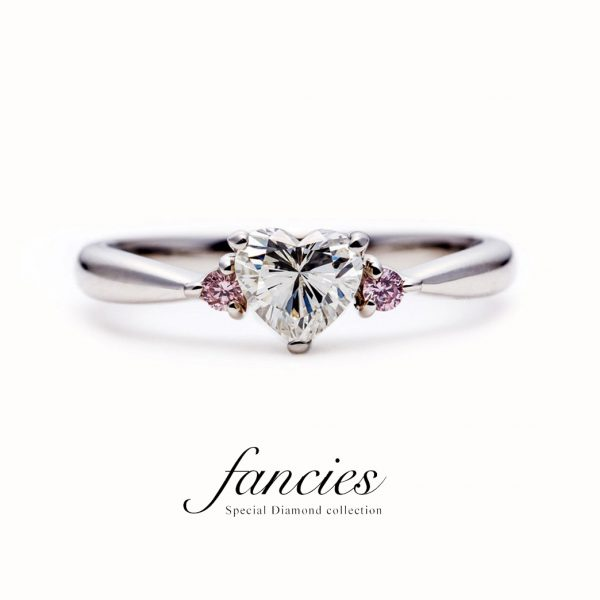 Side Pink Diamond Heart Shape Ring