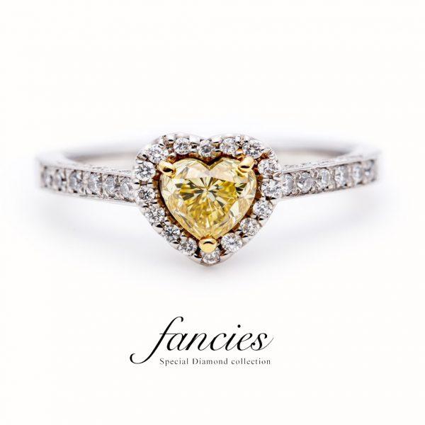 "Heart Shape Yellow ""Hope of Heart"" Diamond Ring"
