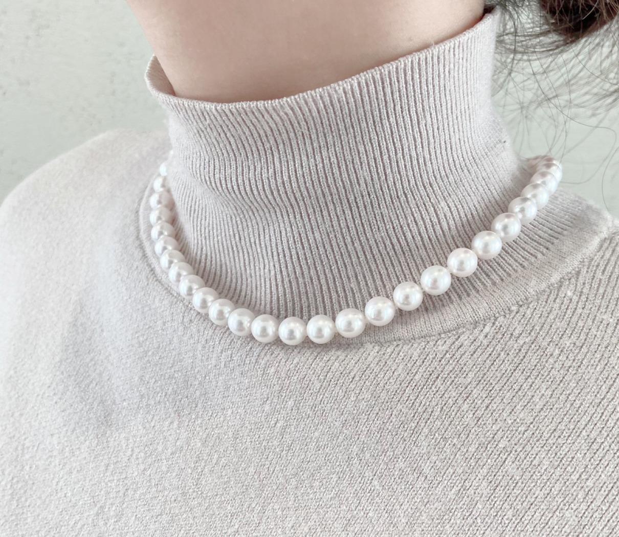 あこや真珠ネックレス7.5-8.0㎜ ピンク系です。