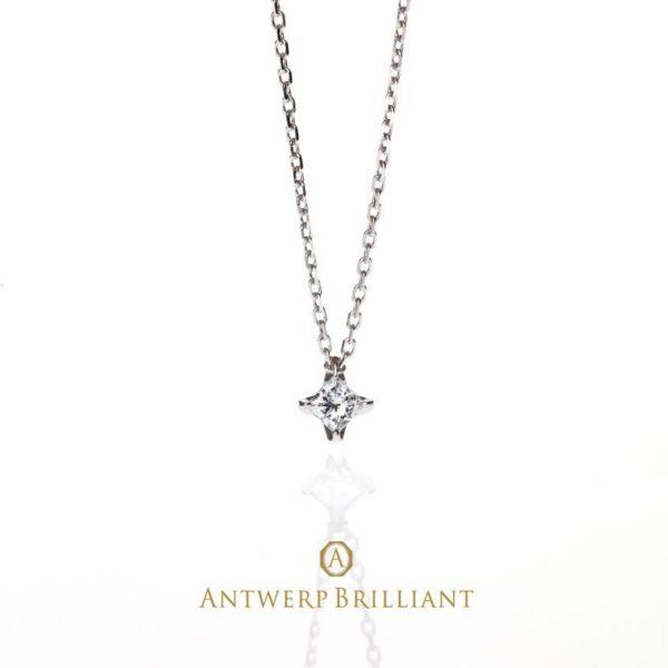 美しく輝くプリンセスカットダイヤモンドのプチネックレス