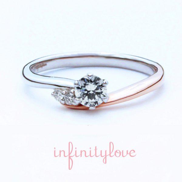 メレダイヤモンドが可愛いピンクゴールドとプラチナのコンビネーション婚約指輪