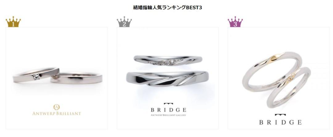 ブリッジ銀座の結婚指輪人気ランキング更新