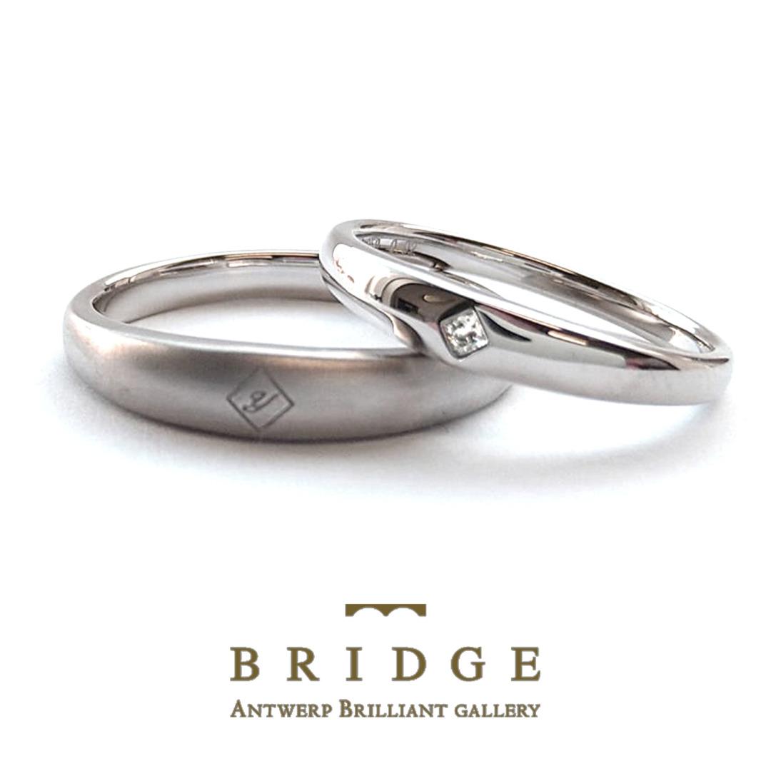 イニシャル刻印できる結婚指輪マリッジリングはブリッジ銀座